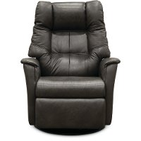 Anthracite Gray Leather Large Swivel Glider Power Recliner - Boston