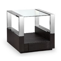 Graphite and Chrome Glass Top End Table - Revere