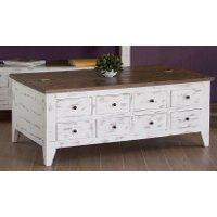 Distressed White and Brown Lift Top Coffee Table