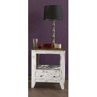 Distressed White and Brown End Table