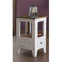 Distressed White and Brown Chair Side Table