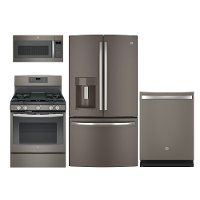 PACKAGE GE 4 Piece Gas Kitchen Appliance Package with French Door Refrigerator - Slate