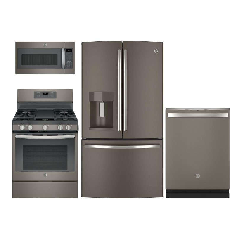 GE 4 Piece Gas Kitchen Appliance Package with French Door Refrigerator -  Slate