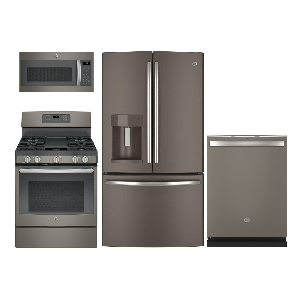 ge slate 4 piece kitchen appliance package with gas range | rc