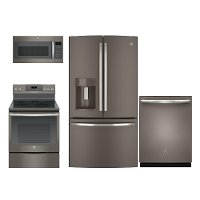 PACKAGE GE 4 Piece Electric Kitchen Appliance Package with French Door Refrigerator - Slate