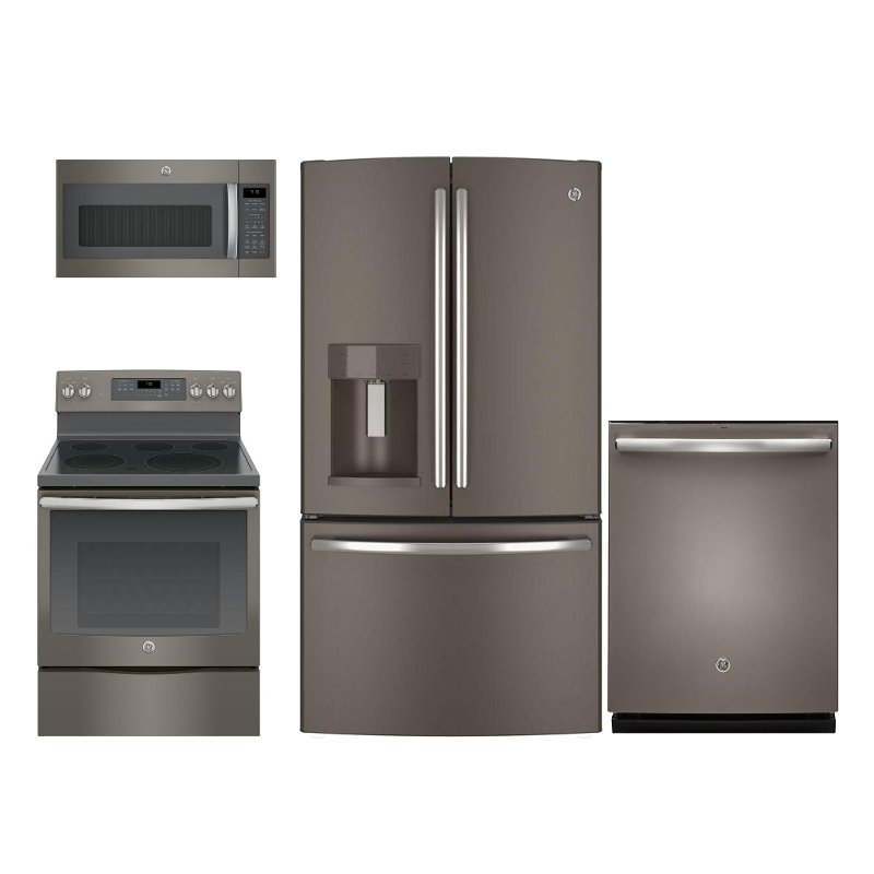 GE 4 Piece Electric Kitchen Appliance Package with French Door Refrigerator  - Slate
