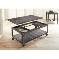 Industrial Tobacco Brown Barn Wood Lift Top Coffee Table - Sherlock