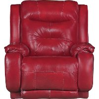 Marsala Red Leather-Match Manual Rocker Recliner - Cresent