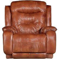 Rustico Brown Leather-Match Manual Rocker Recliner - Cresent
