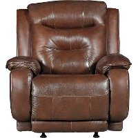 Palazzo Dark Brown Leather-Match Manual Rocker Recliner - Cresent