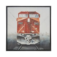 'Last Stop Red Train' Framed Canvas Wall Art