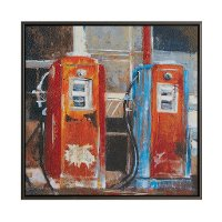 Two Gas Pumps Hand Embellished Framed Canvas Wall Art