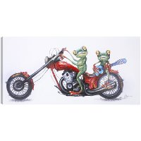 Frogs on Motorcycle Canvas Wall Art