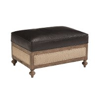Magnolia Home Furniture Black Leather Ottoman - Foundation