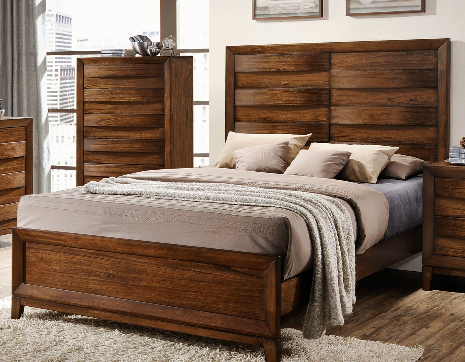 Rustic Modern Oak 5 Piece Queen Bedroom Set Kelton Rc Willey Furniture Store
