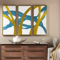 Turquoise and Gold Framed Wall Art with Gold Frames - Set of 3