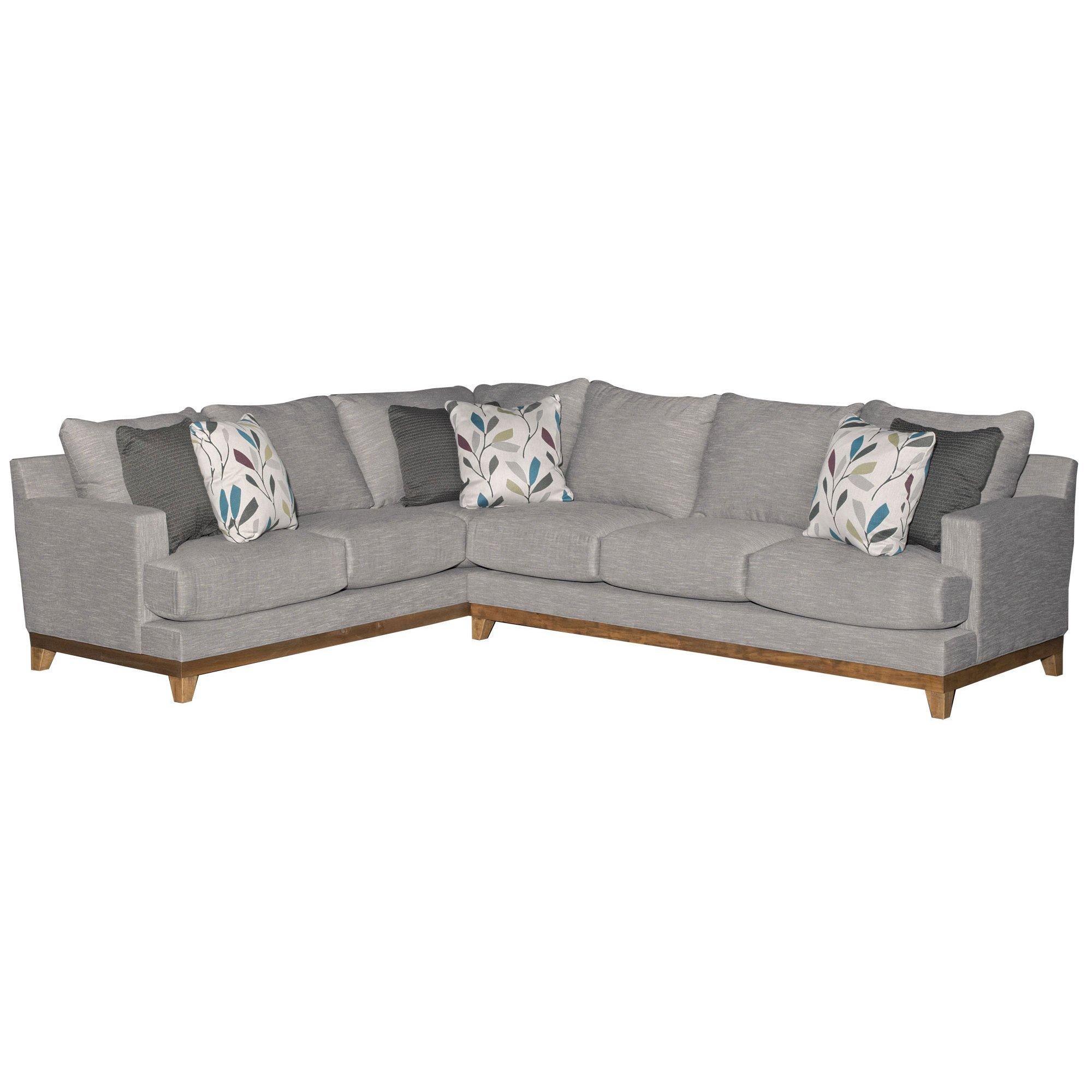 Contemporary Gray 2 Piece Sectional Sofa With Raf Dayton
