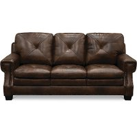 Classic Traditional Dark Brown Leather Sofa - Savannah