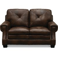 Classic Traditional Dark Brown Leather Loveseat - Savannah