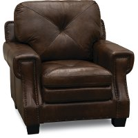 Classic Traditional Dark Brown Leather Chair - Savannah