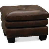 Classic Traditional Dark Brown Leather Ottoman - Savannah
