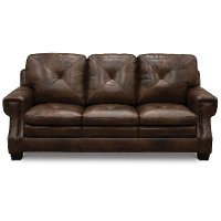 Classic Traditional Dark Brown Leather Sofa Bed - Savannah