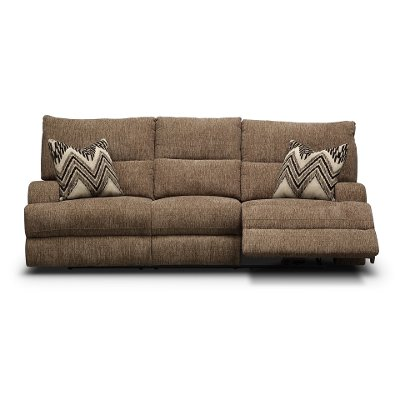 Brindle Brown Power Reclining Sofa Happy