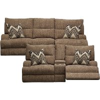 KIT Brindle Brown Power Reclining Living Room Set - Happy
