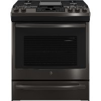 JGS760BELTS GE Slide-In Front Control Convection Gas Range - Black Stainless Steel