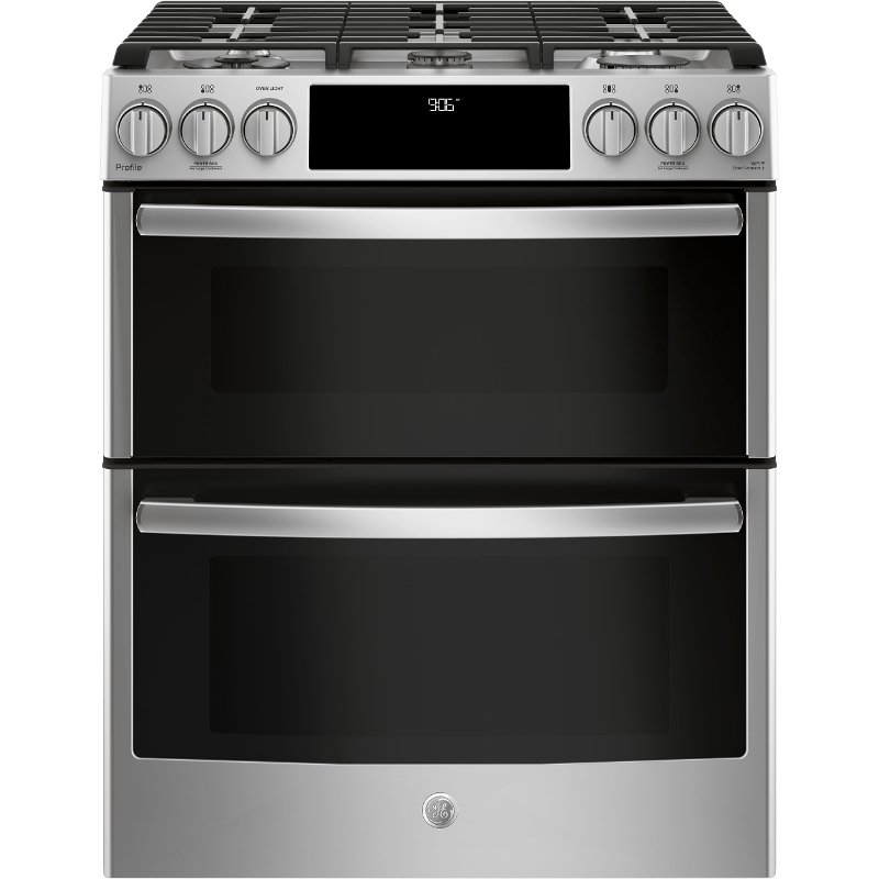 double oven gas range. PGS960SELSS GE Profile Double Oven Gas Range - 6.7 Cu. Ft. Stainless Steel