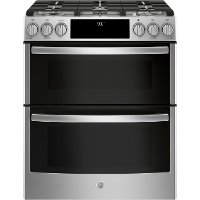 PGS960SELSS GE Profile Series Slide-In Front Control Gas Double Oven Convection Range - Stainless Steel