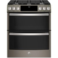 PGS960EELES GE Profile Series 30 Inch Slide-In Gas Double Oven Convection Range - Black Stainless Steel