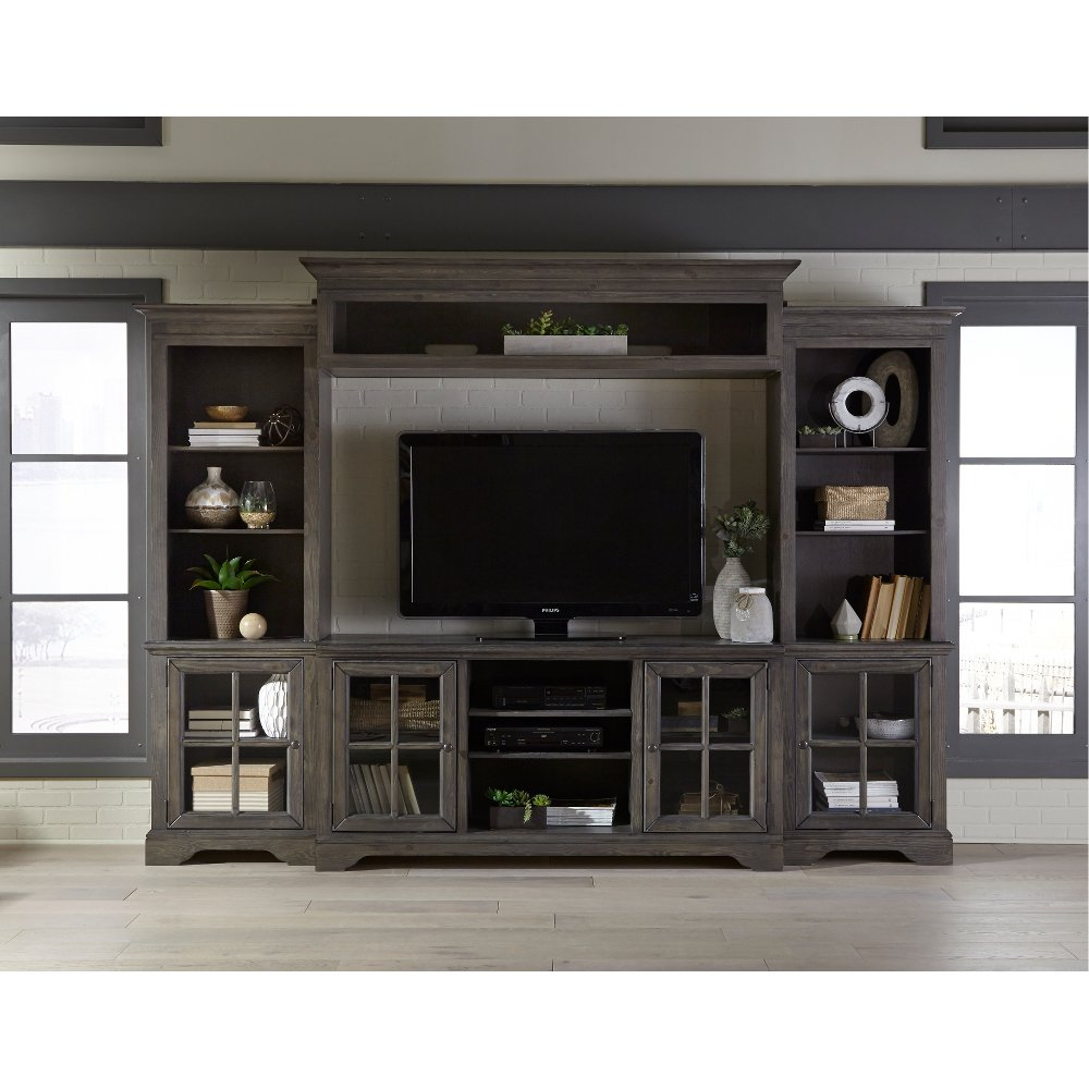 4 Piece Charcoal Brown Entertainment Center   Dilworth
