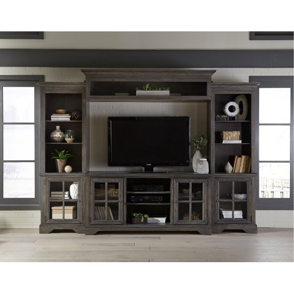 Charcoal Brown 4 Piece Chic Entertainment Center Dilworth