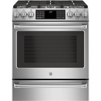 C2S986SELSS GE Café Series 30 Inch Stainless Steel 5.6 cu. ft. Slide-In Front Control Dual-Fuel Range with Warming Drawer