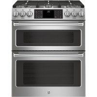C2S995SELSS GE Café Series 6.7 cu. ft. Slide-In Front Control Dual-Fuel Double Oven with Convection Range - Stainless Steel