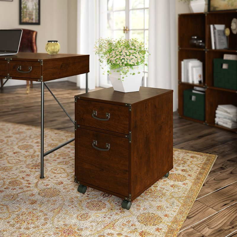 cherry 2-drawer file cabinet on wheels - ironworks | rc willey 2 drawer file cabinet on wheels