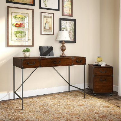 Cherry Writing Desk And 2 Drawer File Cabinet 48 Inch Ironworks