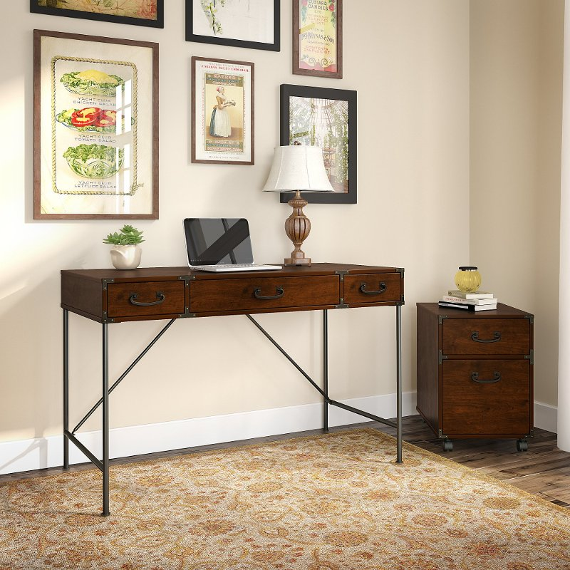 Cherry Writing Desk and 2- Drawer File Cabinet (48 Inch) - Ironworks