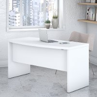 White Bow Front Desk (60 Inch) - Echo