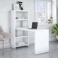 White Bookcase Desk (56 Inch) - Echo