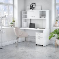White Credenza Desk with Hutch and File Cabinet - Echo
