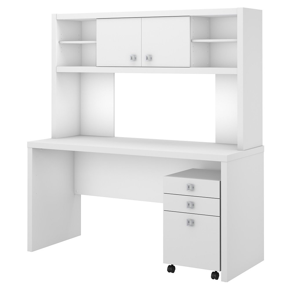 White Credenza Desk With Hutch And File Cabinet Echo Rc Willey Furniture