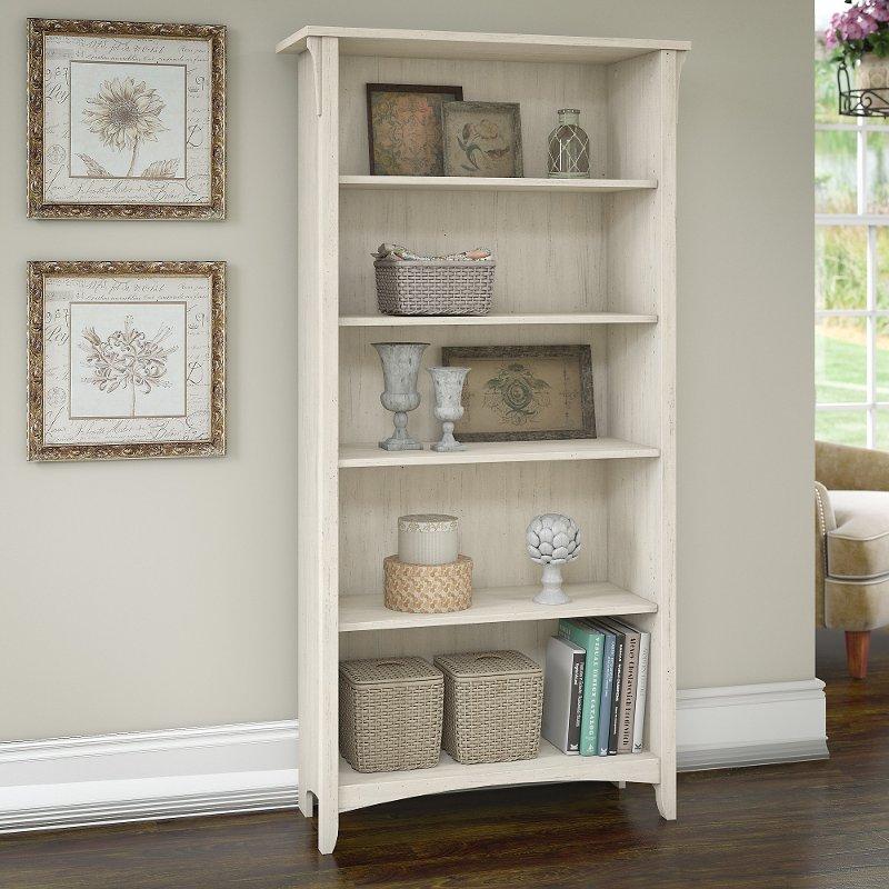 Antique White 5 Shelf Bookcase Salinas