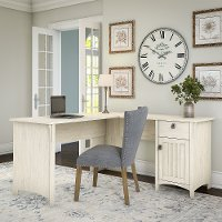 Antique White L-Shaped Desk with Storage - Salinas