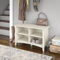 Antique White Shoe Storage Bench - Salinas
