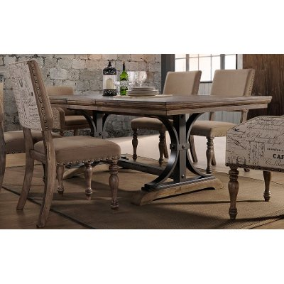 HM4280 30 TABLE Clearance Driftwood And Metal Trestle Dining Table