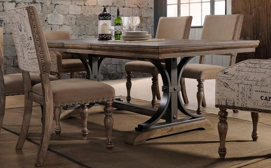 HM4280 30/TABLE Driftwood And Metal Dining Table   Metropolitan