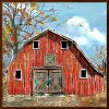 'Red Country Barn' Hand Painted Framed Wall Art
