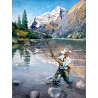 Fishing Angler I Hand Painted Canvas Wall Art